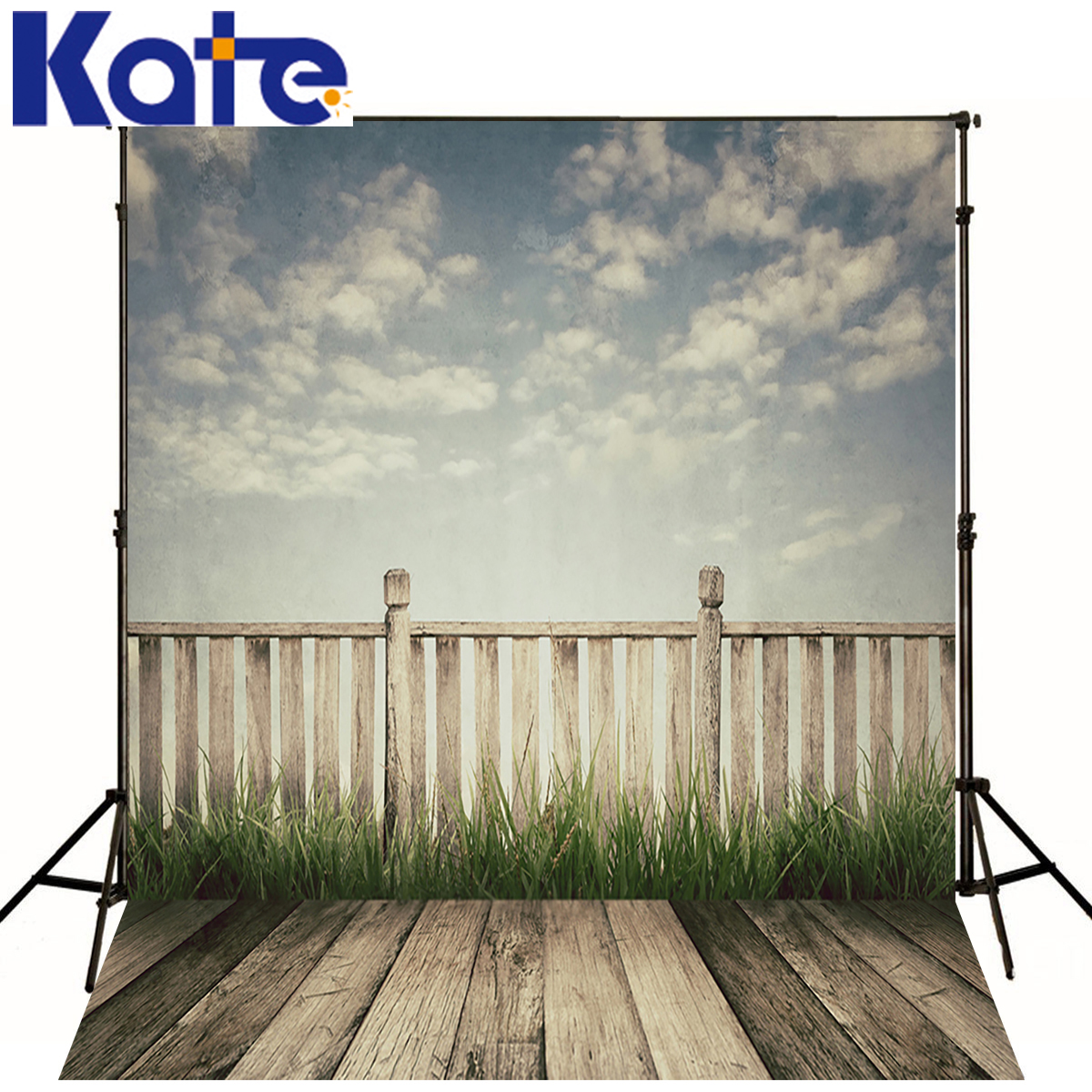 KATE 5X7FT Newborn Baby Background White Cloud and Blue Sky Photography Backdrop Dark Wood Texture Floor For Photo Shoot Studio photo background blue sky white clound photography backdrops newborn hot air balloon fly studio photo backdrop