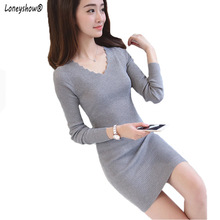 Loneyshow 2018 Autumn Winter Women long-sleeved Sweater Dress Warm Pullovers Sweater Elastic Slim Knitted Dress Sexy Women Dress