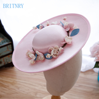 BRITNRY Elegant Wedding Hat Beautiful Flowers Bride Hat Women Wedding Hats