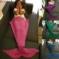 Gamiss Mermaid Tail Manta Regalo de Los Niños de Punto Otoño Invierno Cálido Ganchillo Hecho A Mano de La Sirena Envoltura De La Cama Sofá Throw Dormir B