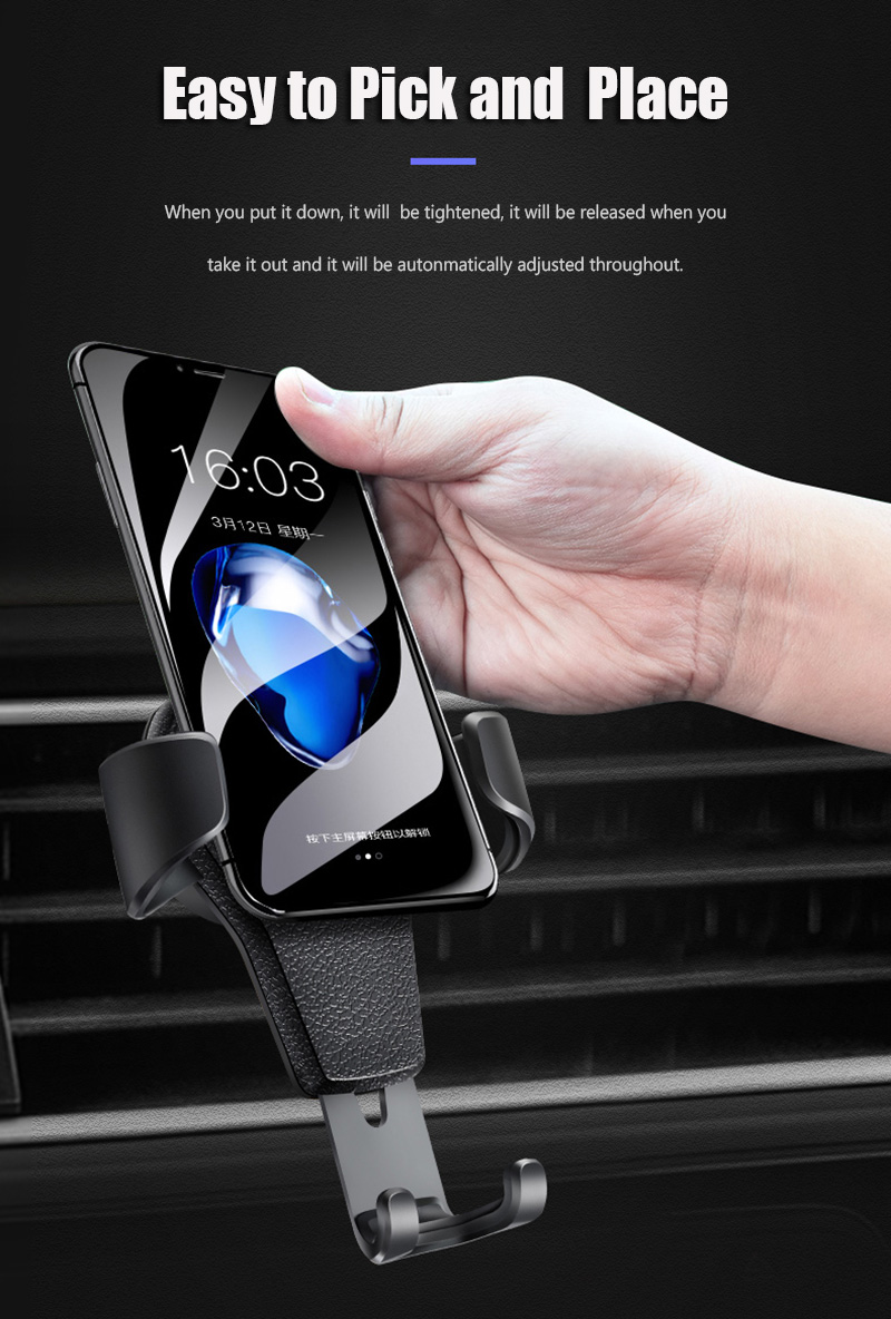 KCAR1017_9_Universal Car Phone Holder For Phone In Car Air Vent Mount Stand No Magnetic Mobile Holder Gravity Bracket for iPhone XS XR Huawei