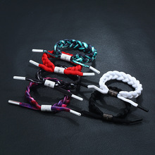 2pcs/lot Hand-knitted basketball shoelaces Trend girl fashion sports wristband star bracelet mens trend hand jewelry