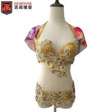 c5564de62 Traje de Dança Do Ventre das mulheres Com Push Up Bra 2 Peças Cinto Sutiã  Traje De Dança Oriental Ouro S-XL
