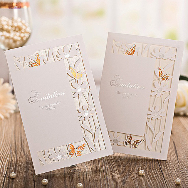 Aliexpress Buy 2017 New 12Pcslot Laser Cut Bronzing Wedding – Butterfly Wedding Invitation Cards