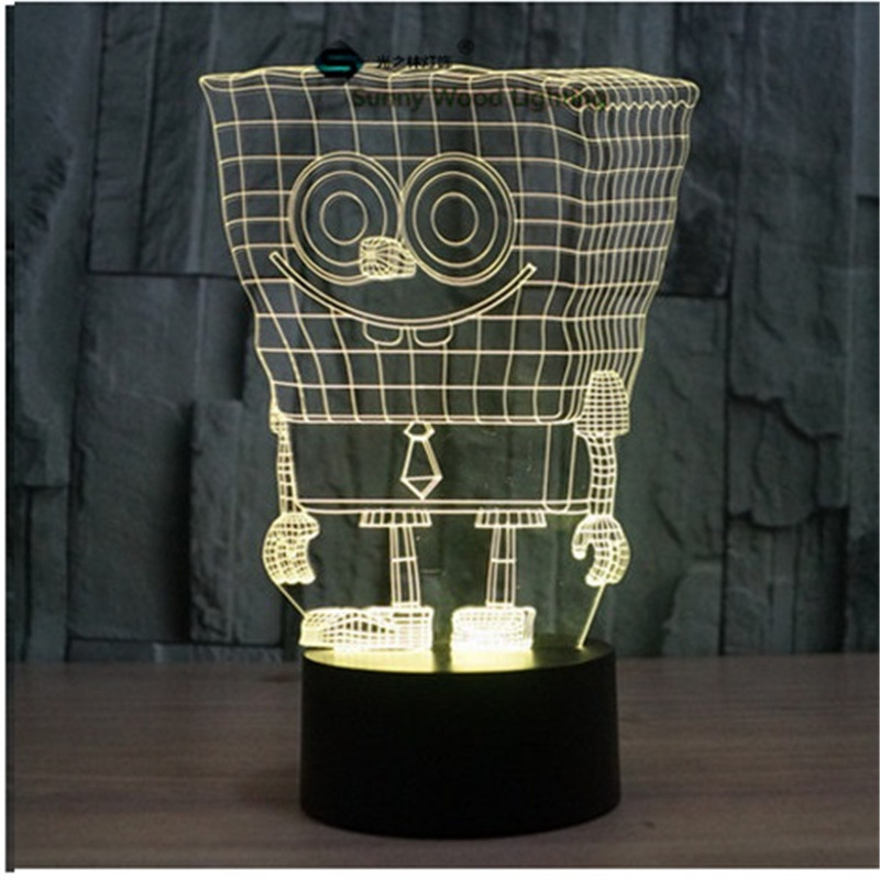 Spongebob touch switch LED 3D lamp ,Visual Illusion 7color changing 5V USB for laptop, desk decoration toy lamp