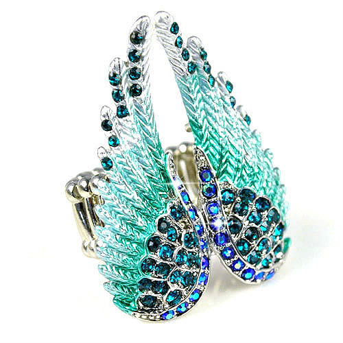 Exclusive Design Angel Wing Style Ring for Women Costume Jewelry Rhinestones Inlaid Cocktail Ring for Ladies Free Size RN-618