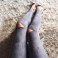 Mujeres Pantalones Flacos Cremallera Sexy Leggings Pantalones Jeans Stretch Bodycon Delgado