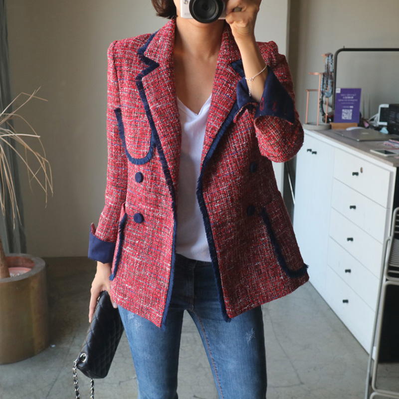 Double Breasted Suit Jacket Female Korean Spring Autumn 2019 New Casual Chic British Tassel Patchwork Tweed Blazers Coats Jc2860