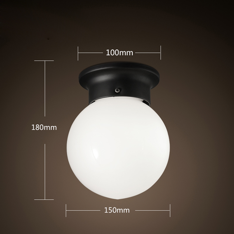 ФОТО Modern Brief Loft Vintage Ameican Country Glass Ball Iron led Ceiling Light Bathroom Balcony Entrance Aisle Home Decor Lighting