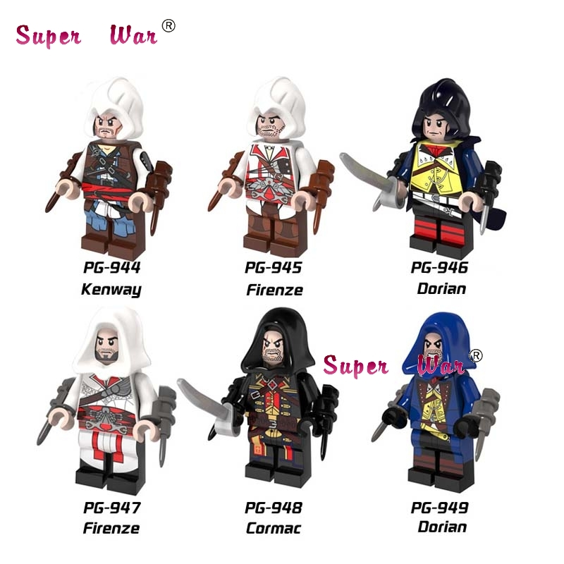 60pcs starwars super heroes Assassin Creed Kenway Firenze building blocks action  bricks hobby interesting toys for kids