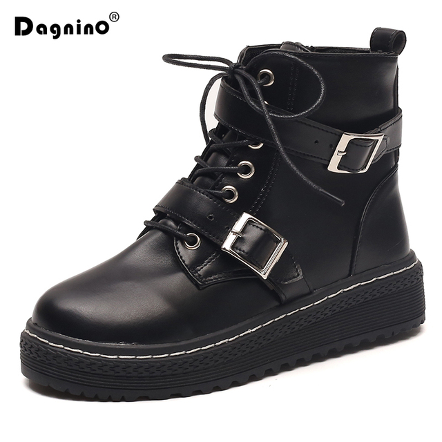 Autumn Martin Boots Women British Style Motorcycle Boots Winter Leather Shoes 2018 New Woman Fashion Vintage Black Ankle Boots