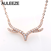 AULEEZR 18K Solid White Gold Diamond Pendant Real Natural Diamond Antlers Pendants Necklace Chain Christmas Gift