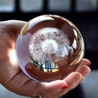 80 cm kryształowa kula Dandelio piłka 3D grawerowania laserowego okazy kreatywny Rose szklane kulki na całym świecie miłośnika rzemiosła prezent Home Decoration w Figurki i miniatury od Dom i ogród na