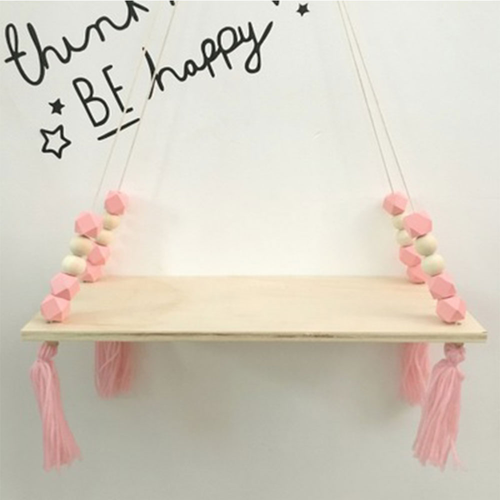 Nordic Storage Shelf Rack Wooden Bead Tassels Wood Wall Clapboard Wall Hanging Decoration for Children Room Party Gifts in Decorative Shelves from Home Garden