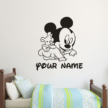 Mickey Mouse Customized Name Wall Sticker Cartoon Character Decals Kids Girls Boys Decor Vinyl Art AY1216