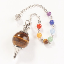 wholesale 10 Pcs Fashion Natural Tigers eye precious stone Silvery Metal Ball Chain Dowsing Healing Chakra Pendulum Gift