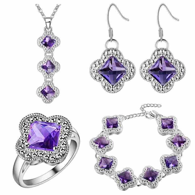 BRACELET anneau pendentif collier boucles d'oreilles un épais ensemble en argent aliexpress explosion katami trèfle violet pierre commerce