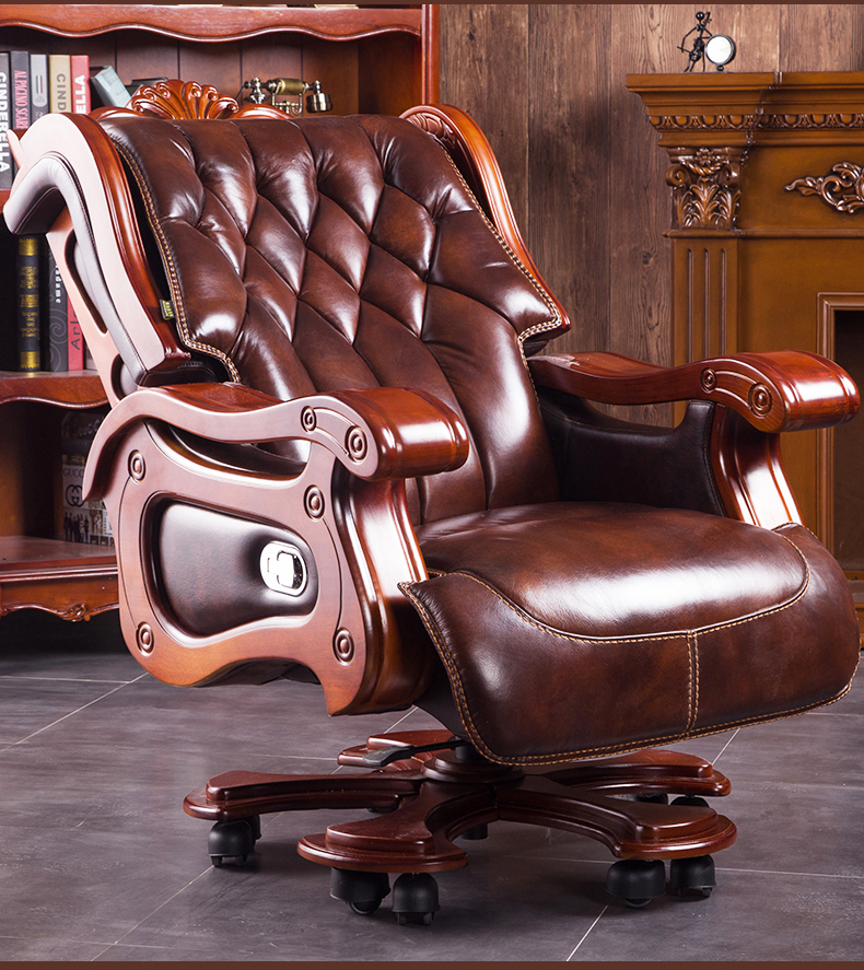President Solid Wood Big Class Chair Office Chair Computer Chair Can Lie Down Cowhide Massage Boss Chair.