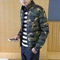 Горячие продажа 2016 Мода куртка мужчины зимнее пальто хлопок проложенный толстый куртка Камуфляж лоскутное куртки верхняя одежда М-5XL