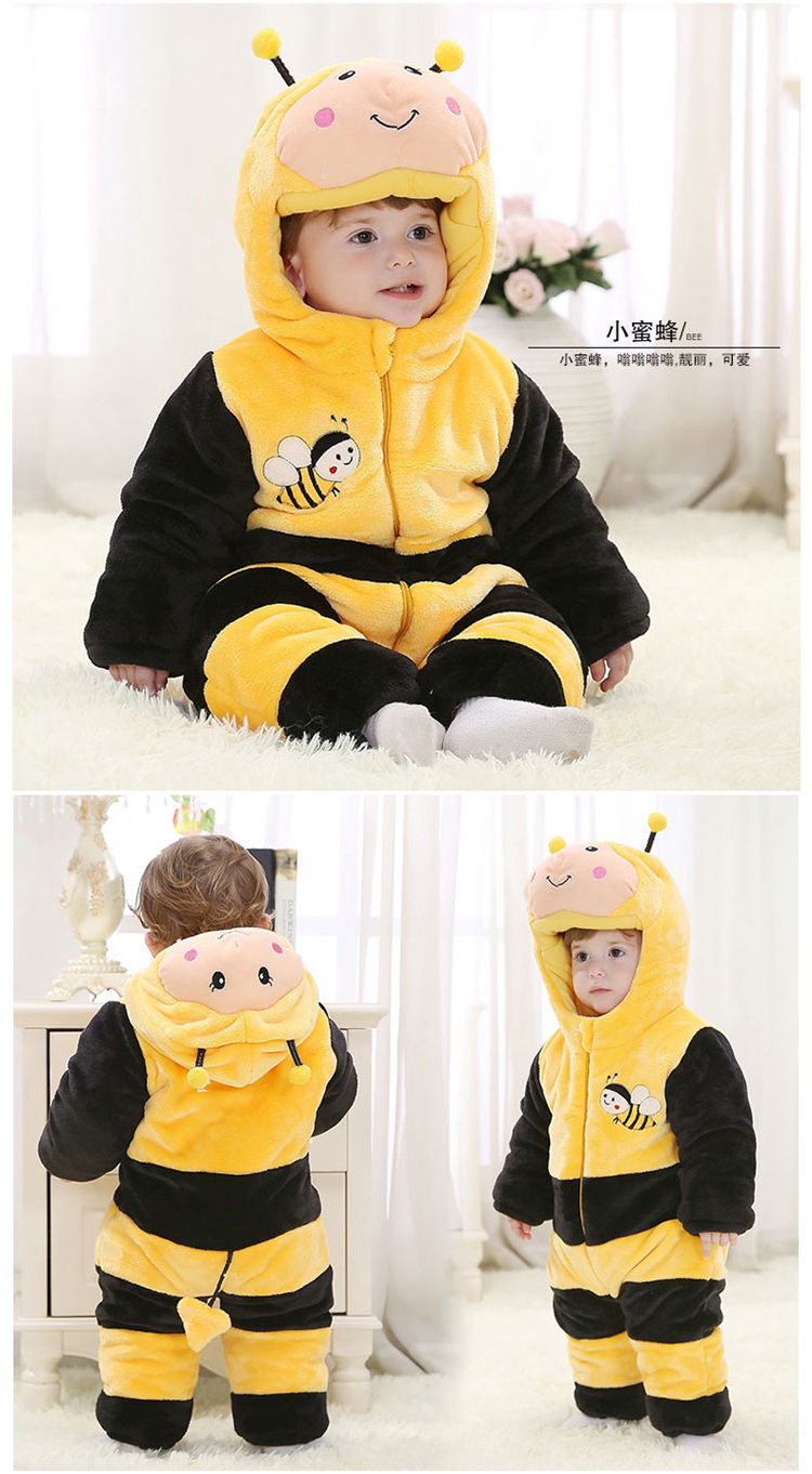 2f790177a Animal Red Bee Baby Boy Romper Fleece Jumpsuit 100% Cotton Winter ...