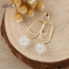 Badu Long Crystal Drop Earrings for Women 2019 New Lovely Trendy Cute Hollow Square Pendant Jewelry Wedding Wholesale