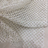 Exquisite White 10 Thousand Beads Lace Fabric African Glitter Net Tulle Wedding Dress Grid French Sexy Woman Party Gown Material