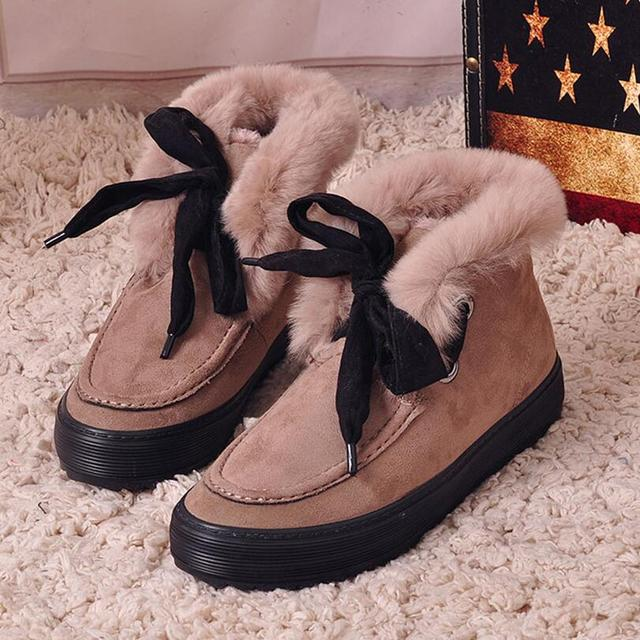 {D&H}Brand Boots   MJ Women Casual Shoes Fur Keep Warm Snow Boots Lace-Up Bowknot Short Boots tenis feminino ladies trainers