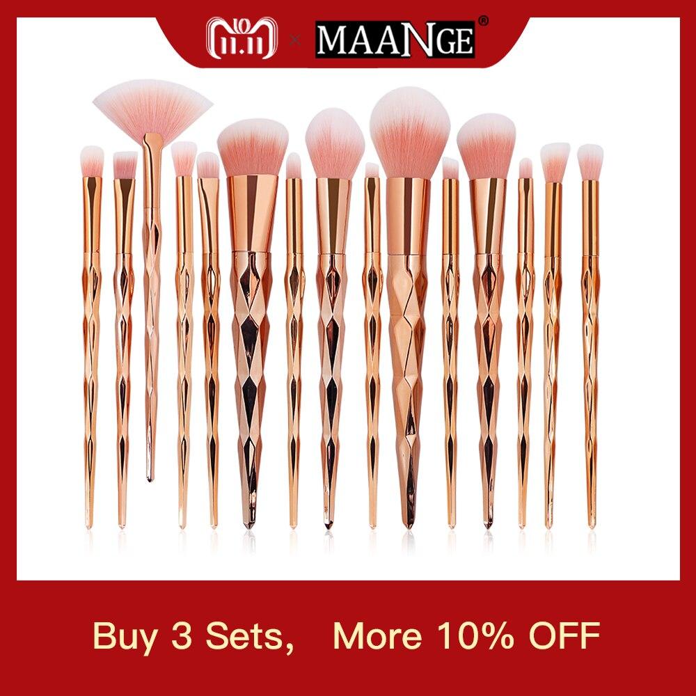 MAANGE 10Pcs/15Pcs Makeup Brushes Set Powder Foundation Eyebrow Eye Shadow Lip Concealer Fan Makeup Brush Kit Pincel Maquiagem цена