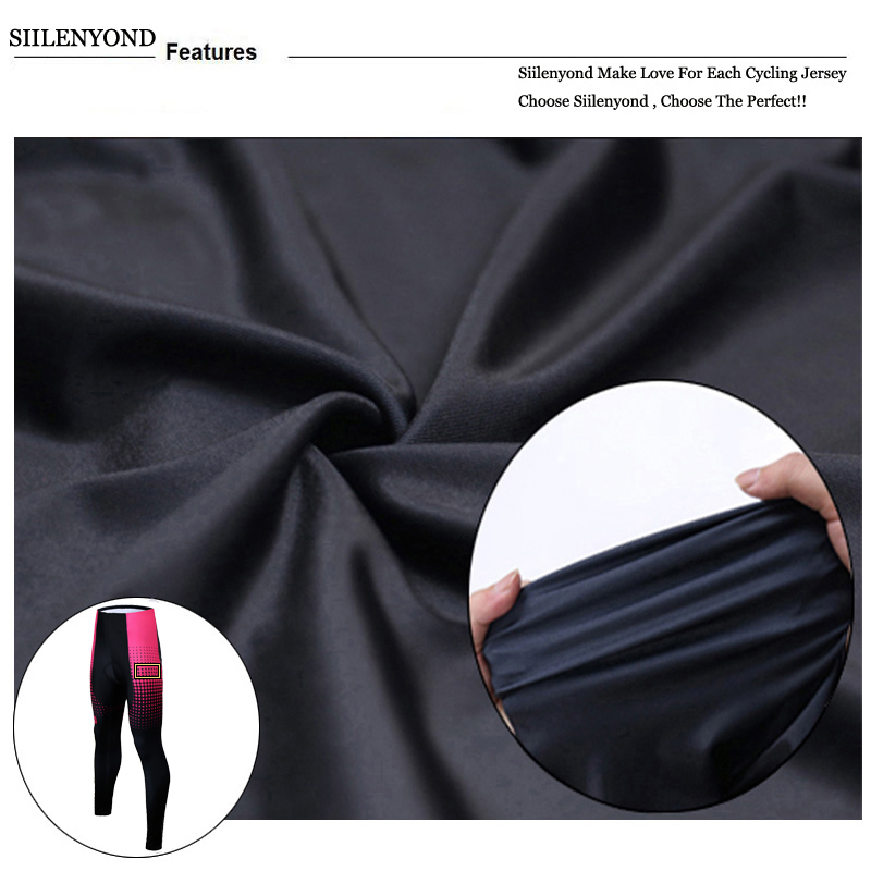 Siilenyond 2019 Pro Women Winter Thermal Cycling Pants MTB Bicycle Cycling Tights Mountain Bike Trousers With 3D Gel Padded 7