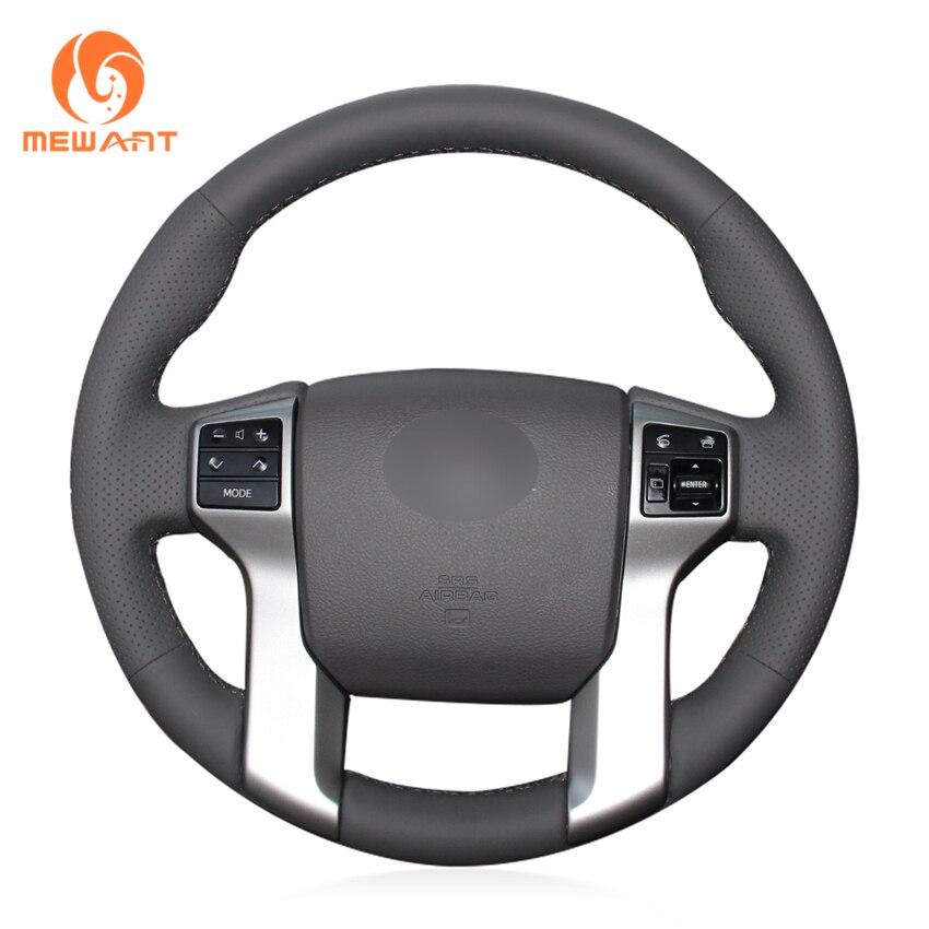 MEWANT Dark Gray Genuine Leather Steering Wheel Cover for Toyota Land Cruiser Prado 2010-2017 Tundra 2014-2019 Tacoma 2012-2019 ksp 4 1 5 inch 38mm wheel spacers adapters 6x5 5 to 6x5 5 6 lug 12x1 5 studs fortoyota tacoma 4runner tundra fj land cruiser