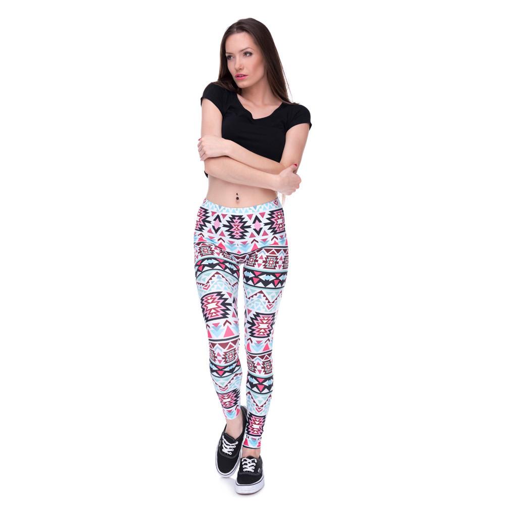 Zohra Brands Women Fashion Legging Aztec Round Ombre Printing leggins Slim High Waist Leggings Woman Pants 19