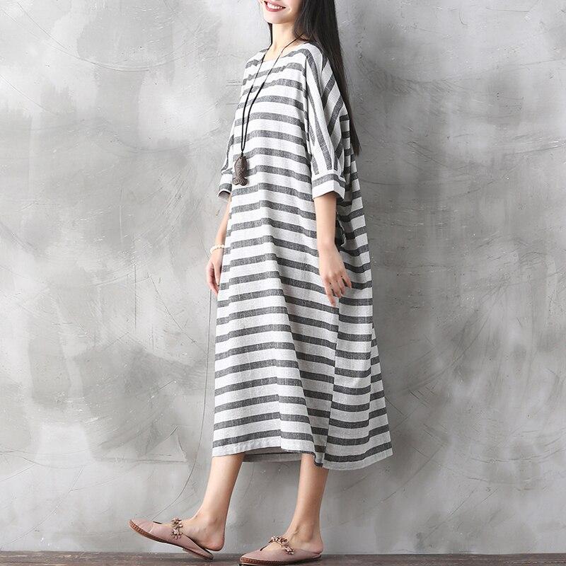 02c2eff25632 2017 retro abiti oversize abito lungo di disegno di estate della banda di  un pezzo del vestito allentato casuale abiti coreano lino maxi vestito in  2017 ...