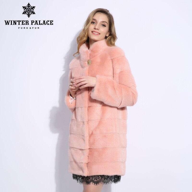 2018 Nuovo stile di modo cappotto di pelliccia naturale visone del Collare del basamento di buona qualità di visone donne cappotto di pelliccia naturale cappotti neri di pelliccia