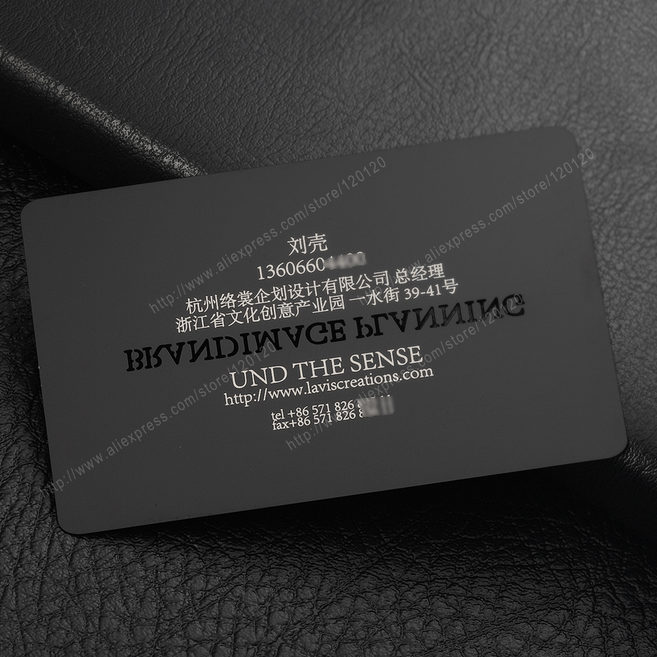 Personalized laser sculpture quality electrophoresis black stainless steel business metal card
