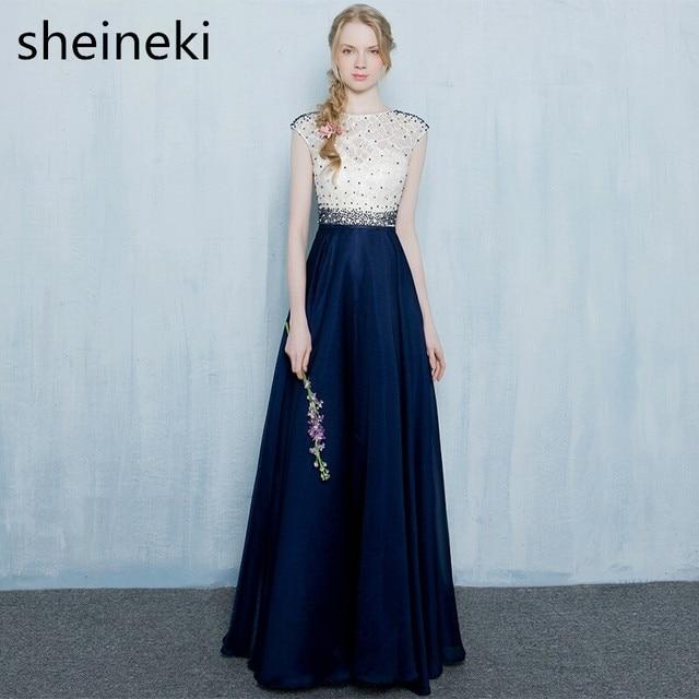 Cheap Beaded Crystal Navy Blue Long Summer Evening Dresses Formal