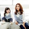 2017 família mãe e filha combinando roupas de malha camisola colete crianças meninas quente mãe e filha roupas