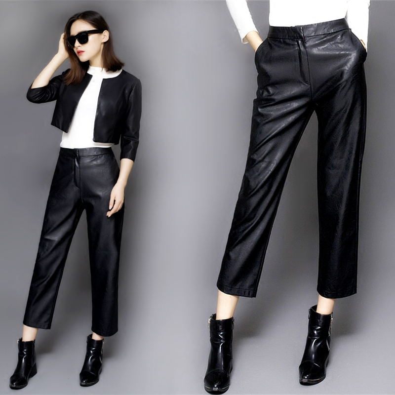 Otoño Exterior Nueve Cintura Femenino 1 Femeninos Pantalones Pu Jeans Recta Desgaste De Alta Invierno Cuero E Puntos 5yq88x6AwS