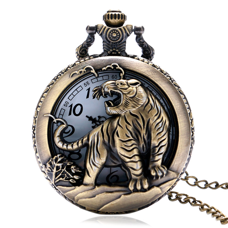 Retro Bronze Chinese Zodiac Tiger Case Quartz Fob Pocket Watch with Necklace Chain Gift Hollow Design Mens Chic Style