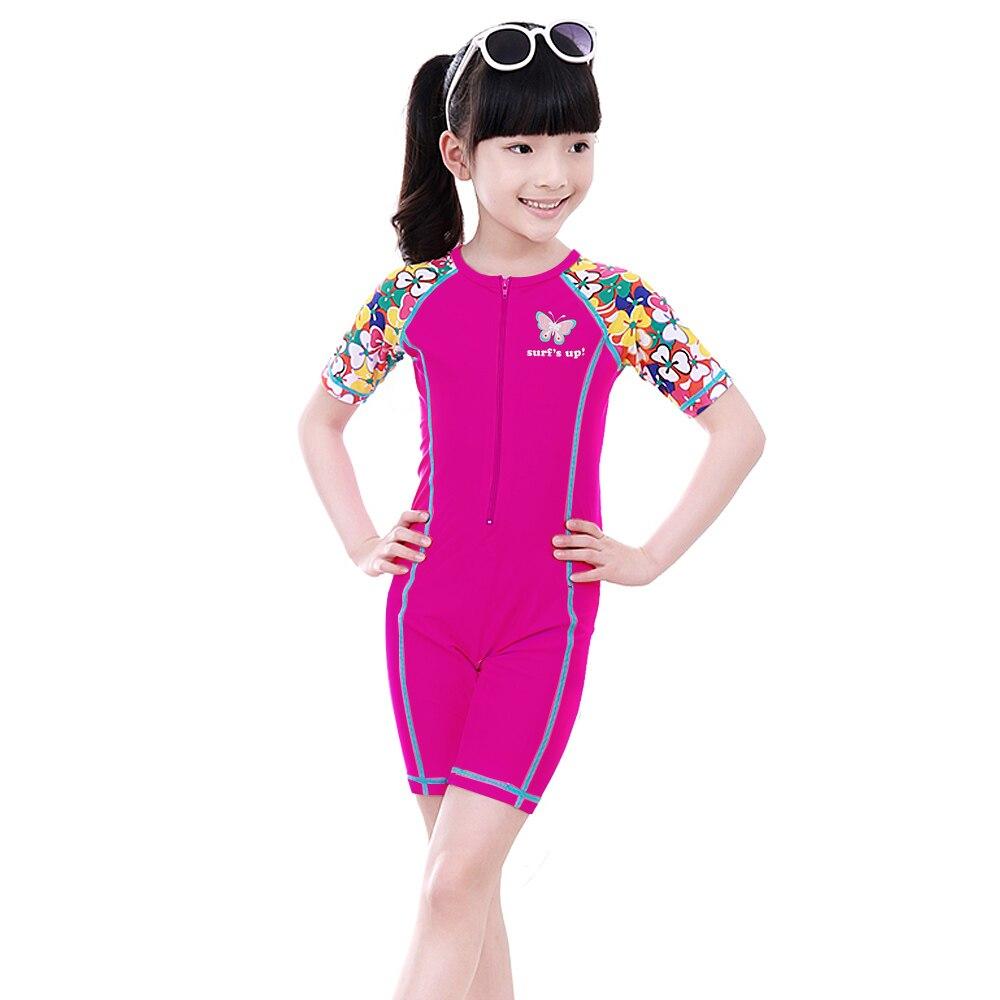 Girls Long Sleeve Rash Guard One Piece Swimsuit Kids UPF 50 Sun Protection Swimwear Rainbow Striped Bathing Suit 3-14 Years
