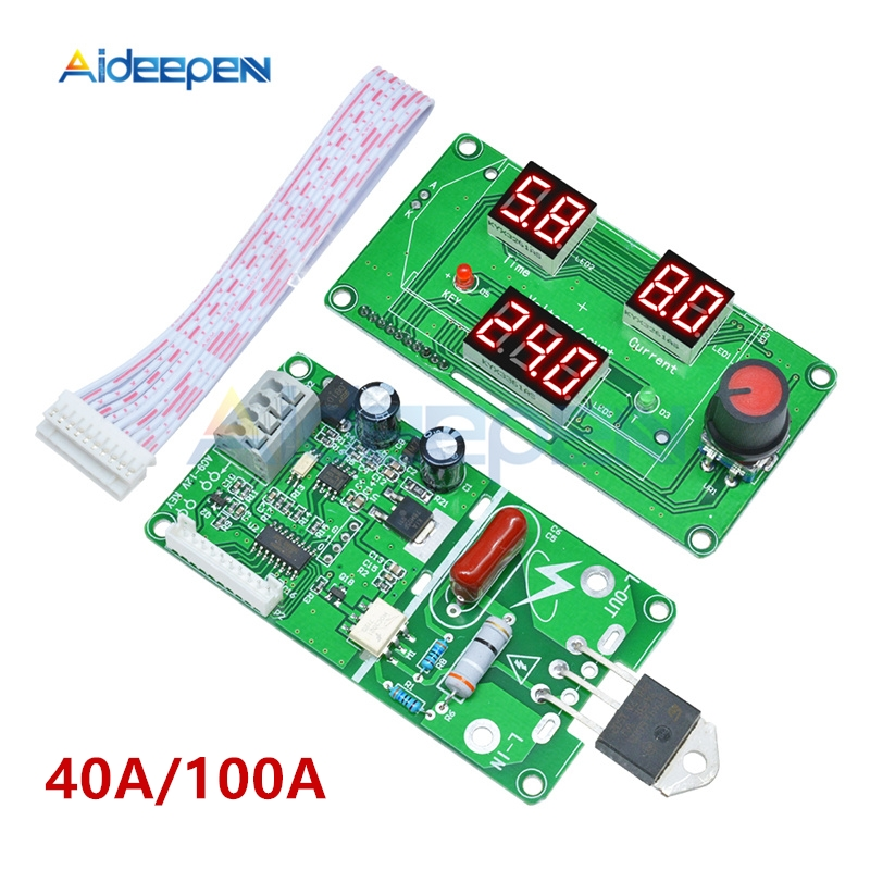 40A 100A LED Digital Single Pulse Encoder Spot Welder Welding Machine Transformer Controller Board Time Control Module + Cable