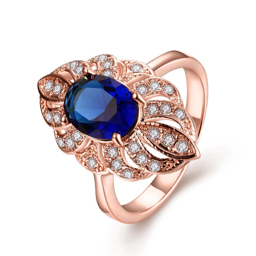 100% Wahr Aruel Elegante Rose Gold Blau Farbe Hochzeitstag Frau Charme Lange Ringe Österreichischen Kristall Modeschmuck Freunde Geschenke