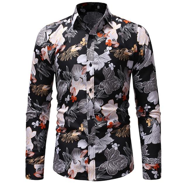 b905cdff2 € 10.7 35% de DESCUENTO|2019 nuevos hombres de Camisa hawaiana 3D imprimir  flores Camisa moda Casual Camisa Masculina de alta calidad Camisa de ...