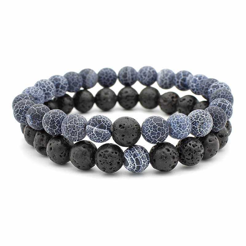 Classic Natural Stone Bracelet Men 8mm Lava Beads Braslet For Men Cool Biker Couple Braclet Pulsera Masculina Armband Heren Gift