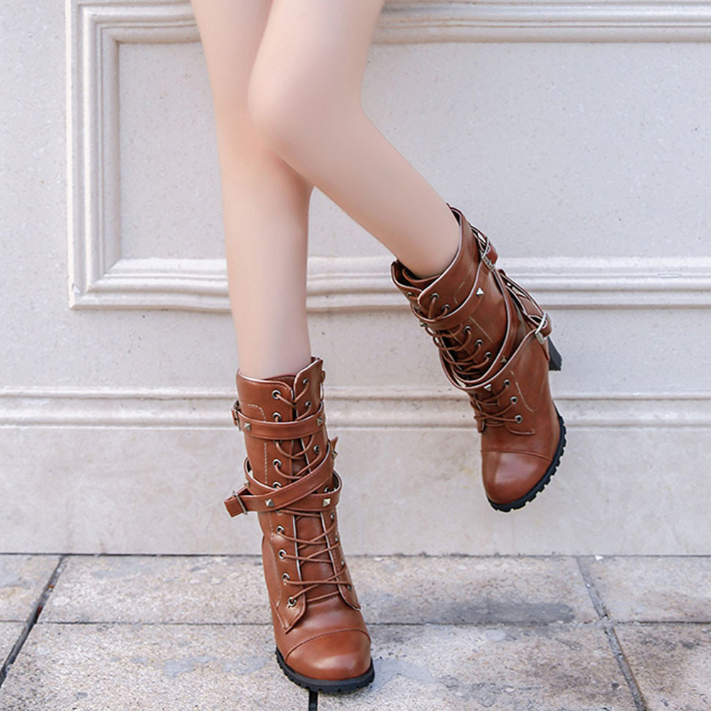 shoes Boots Women Ladies Classics Rivet Belt High Heels Mid-Calf Boots Shoes Martin Motorcycle Zip boots women 2018Oct31 30