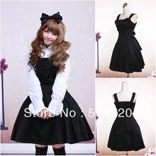 V-1166 langhülse Schwarz baumwolle Gothic Schule Lolita Kleid/viktorianischen kleid Cocktailkleid/halloween-kostüm US6-26