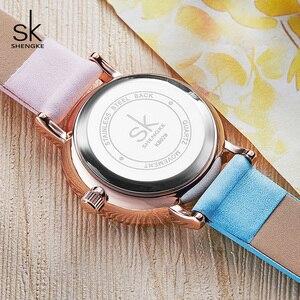 Image 5 - Shengke Creative Color Leather Watches Women Ladies Quartz Watch Relogio Feminino 2019 SK Women Wrist Watch Montre Femme #K8029
