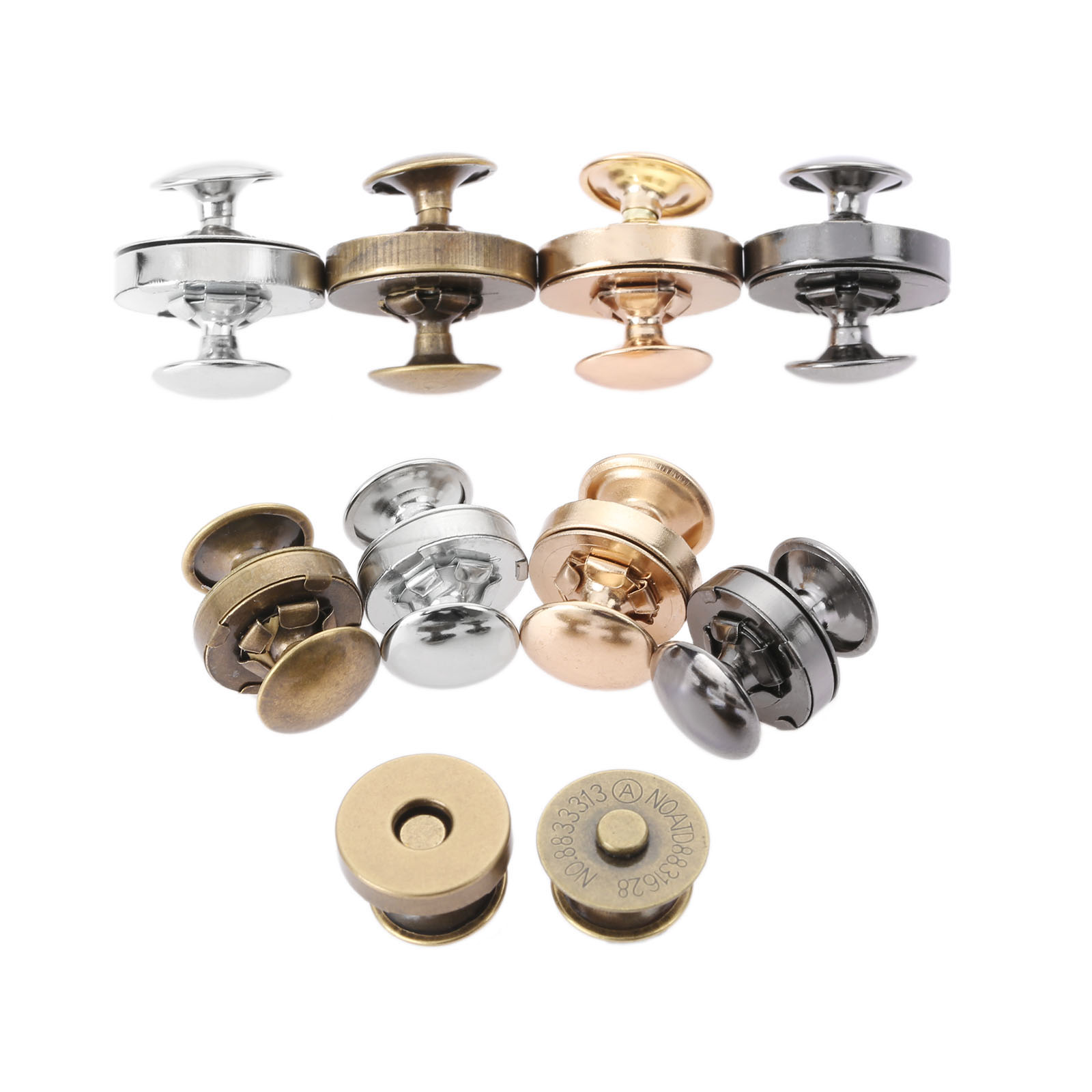 10Sets 14mm 18mm Double Rivets Magnetic Buttons Metal Magnet Buttons For Handbag