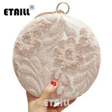 ETAILL lentejuelas y bordado flores redondas vestido de noche bolsos de hombro de cadena de cuero PU para damas Retro bolsos de embrague de lujo