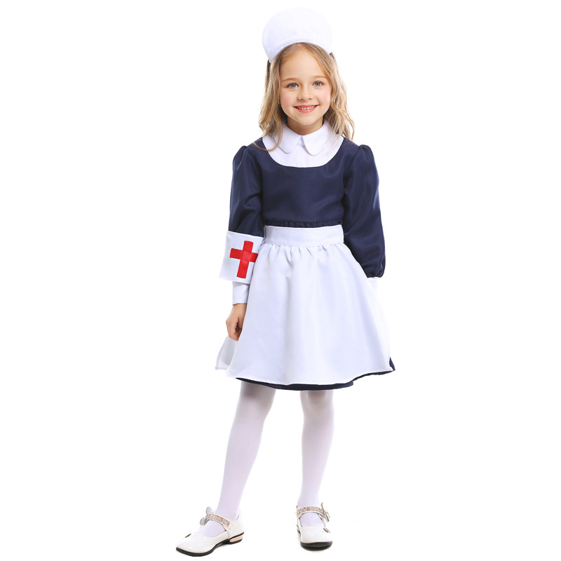 Rapture H&zy Girls White Blue Nurse Costumes Children Doctor Uniform Halloween Cosplay For Kids Carnival Party Stage Role Fancy Dress Costumes & Accessories Girls Costumes