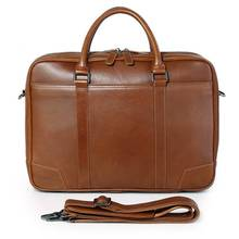 Men's Briefcases Genuine Leather Business Man Vintage Brown Travel 15
